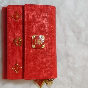 NWOT MCM RED TRIFOLD WALLET
